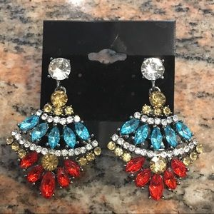 Jewelry - Beautiful Red/Blue Multi Sparkly Dangle Earrings!